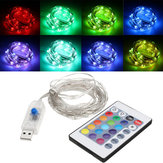 USB Powered 5.3M 50LEDs RGB 8 Modes Silver Fio Fairy String Light + Controle Remoto para o Natal