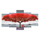 5Pcs Red Tree Wall Paintings Decorative Canvas Print Art Pictures Frameless Wall Hanging Decorations for Home Office