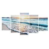 Pintura de 5 peças com vista para as ondas do mar, arte da parede em tela grande, decoração moderna do oceano, foto suspensa, suprimentos para quarto de casa
