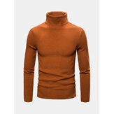 Mens Basic Style Multi-Color High Neck Rajutan Sweater Kasual Hangat