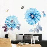 Flores azuis adesivo de parede quarto adesivo sala de fundo quarto decorações