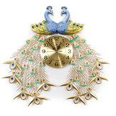 27-calowy 3D Double Peacock Crystal Luxury Wall Clock Dekoracyjny cichy kwarcowy zegar ścienny do salonu / sypialni / biura