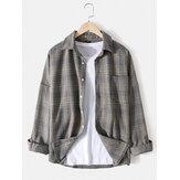 Camicia da uomo in cotone scozzese con risvolto, spalla scesa, vestibilità comoda con tasca