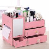 Kozmetik Depolama Kutu Makyaj Düzenleyici Ayna ile Masaüstü Eşyalar Konteyner Tırnak Lehçe Ruj Depolama Kutu Takı Kılıf