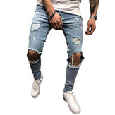 Herren Denim Pants Holes Slim Fashion Mid Rise Jeans