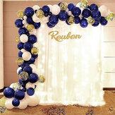 109 pièces bricolage ballons en Latex ensemble bleu blanc or Ballon avec pompe à Air fête d'anniversaire mariage guirlande décoration