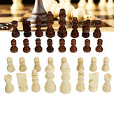 32Pcs Wooden Chess Hand Crafted 77mm King Chess Family Kids Game Home Outdoor Children Toy