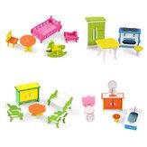Ξύλινο Πολύχρωμο DIY Σετ Έπιπλα Κούκλα Σπίτι Έπιπλα Εκπαιδευτικά Παιχνίδια Εκμάθησης για Δώρα