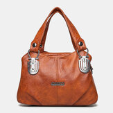 Women Faux Leather Retro Business Shopping All-match Large Capacity Multi-carry Handbag Tote Crossbody Bag