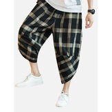Mens Plaid Cotton Linen Loose Drawstring Calf-Length Casual Harem Pants