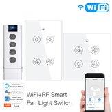 MoesHouse WiFi RF Akıllı Tavan Vantilatörü Işık Anahtarı 2/3 Yollu Kontrol Akıllı Yaşam / Tuya APP RF Uzakdan Kumanda Hız Kontrolü Alexa Google Home ile Çalışın