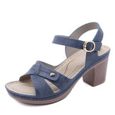 Women Casual Solid Color Stitching Hasp Chunky Heel Stripe Sandals