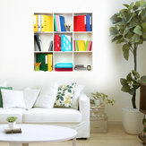 3D Riding Book Shelf Decalques de parede PAG Removable Wall Art Grid Stickers Home Wall Decor Gift