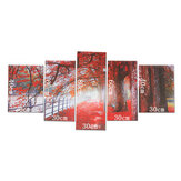5Pcs Canvas Print Paintings Red Leaves Tree River Wall Decorative Print Art Pictures Frameless Wall Hanging Decorations for Home Office