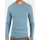 Mens Solid Color Crew Neck Twist Knitted Regular Fit Pullover Sweater
