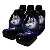 1/7PCS Universal Car Seat Covers Wolf Funky Design Front & Rear Seat Full Set Protector