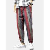 Jogger de cintura media con cordón y estampado de rayas de algodón para hombre Pantalones