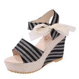Mujeres Verano Playa Sandalias Peep Toe Wadge Shoes Magia stick Sandalias