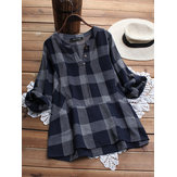 M-5XL Women Casual Plaid V-Neck Adjustable Sleeve T-Shirts