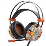 DOUYU DHG160 Grafiti Oyunu Kulaklık USB Kablolu Bas Oyun Kulaklık Stereo Telefon Kulaklığı Kulaklık için Mic ile Bilgisayar PC Gamer