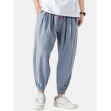 Erkek Moda Pamuk İpli Gevşek Rahat Düz Renk Nedensel Jogger Pantolon