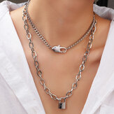 Punk Metal Lock Pendant Clavicle Chain Geometric Round Buckle Chain Multilayer Necklace