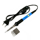 60W Switch Adjustable Temperature Soldering Iron Welding Station Tool Kit with 5Pcs Soldering Tips
