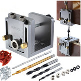 Aluminum Alloy Pocket Hole Jig Kit 9mm Drill Guide Wood Doweling Jig Drilling Hole Locator Woodworking Tools