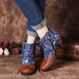 SOCOFY Élégantes épissures à imprimé floral lacets déco empilés talons hauts bottines à glissière doublées chaudes