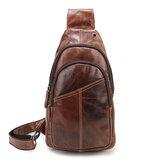 Ekphero® Herren Vintage Echtes Leder Retro Crossbody Tasche Brust Tasche