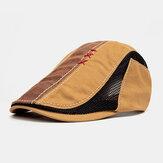 Men Cotton Hand Suture Mesh Breathable Casual Sunshade Beret Cap Flat Hat