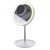 GLIME White Circular Mirrors Lamp 1200 mA Battery with 5X Magnifier Touch Switch Three Color Temperature Adjustment Polarless Dimming Distribution USB Wire