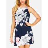 Off Shoulder Floral Print Halter Backless Mini Dress