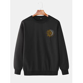 Mens Design Sun Totem Cotton Simple Long Sleeve Pullover Sweatshirts