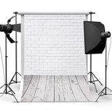 3x5FT witte bakstenen muur vloer achtergrond Studio Prop achtergrond