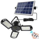 IPRee® 800LM 60 LED Luz solar 3 temporizador de cabeça de lâmpada Lâmpada de trabalho dobrável à prova d'água para jardim externo com painéis solares Controle Remoto