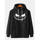 Mens Halloween Print Kangaroo Pocket Long Sleeve Casual Drawstring Hoodies