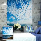 PAG Azul Sky Rolete Pintura estampada de persianas Rolete Cortina de decoração de janela de parede de fundo cego