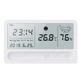 Aufladbares Multifunktions-Thermometer Hygrometer Automatischer elektronischer Temperatur-Feuchtigkeits-Monitor-Wecker Großer LCD-Bildschirm