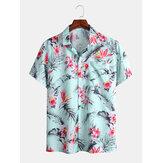 Erkek Tatil Çok Tropikal Bitki Çiçek Baskı Hawaii Kısa Kollu Gömlek