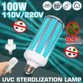 100W UV Germicidal Lamp E27 UVC LED Bulb Ddisinfection Light with Timing Remote Control AC110V/220V