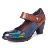 SOCOFY Retro Painting Style Flower Decorated Delicate Buckle Genuine Leather Pumps