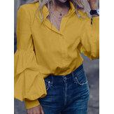 Blus Lengan Panjang Turn-down Collar Warna Puff Panjang Untuk Wanita