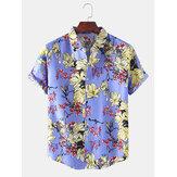 Botão de manga curta com estampa floral oriental e camisas casuais de férias