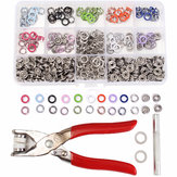 150 Sets 9.5mm 10 Colores Prong Ring Prensa Studs Snap Fasteners Dummy Clip Alicates