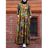 Women Retro Abstract Print O-Neck Long Sleeve Pleated Maxi Dresses With Pocket