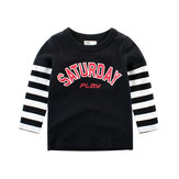 Boys Kids Striped Patchwork Long Sleeve T-Shirts For 3Y-12Y