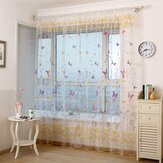 Honana WX-C6 Colorful Butterfly Flower Voile Curtain Panel Window Room Divider Sheer Curtain Home Decor