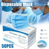 50 stuks masker wegwerp nonwove 3 laags laag filtermasker mond gezicht ademend stofmasker