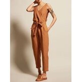 Women Cotton Solid Color Sleeveless V-Neck Side Pockets Jumpsuit